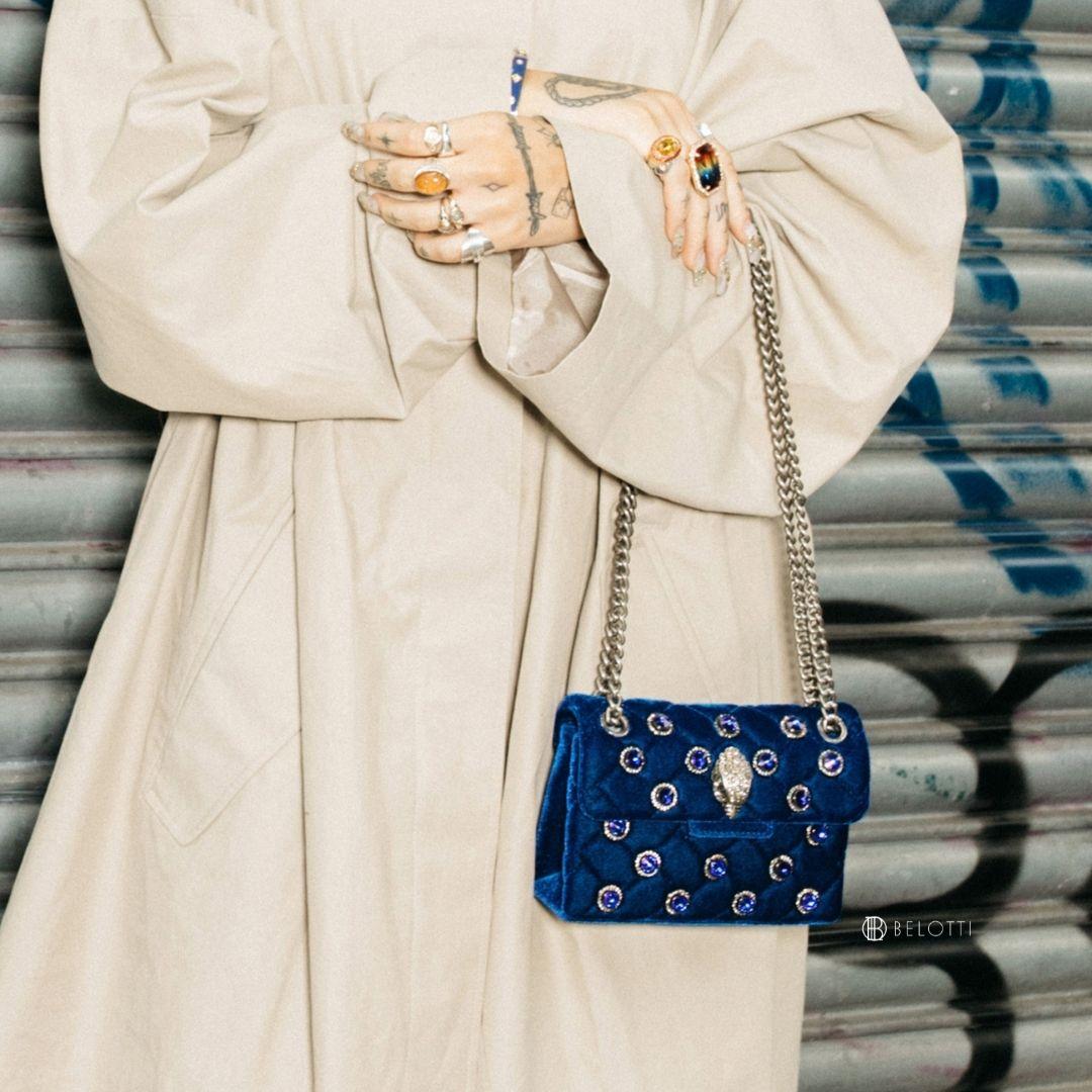 Kurt Geiger Velvet Mini Kensington Blu